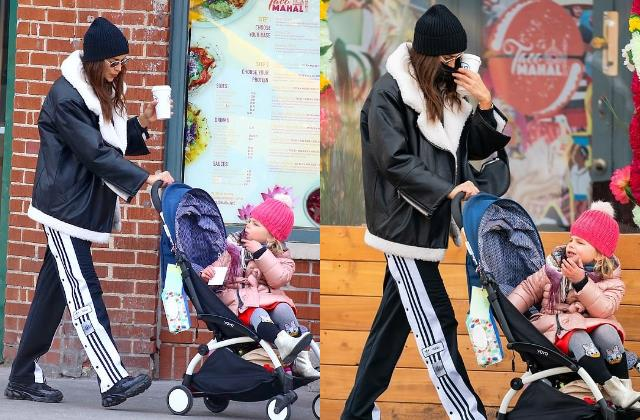 irina shayk during a stroll with daughter lea