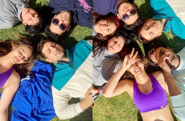 kriti sanon enjoys sunbathing with bachchan pandey team