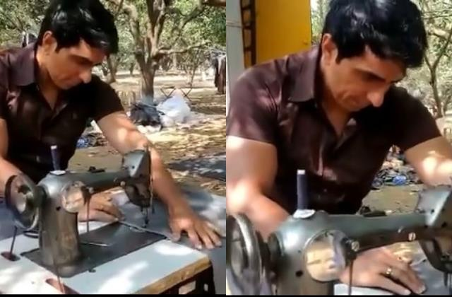 sonu sood become tailor and share video with funny caption