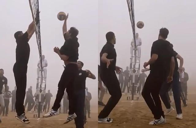 akshay kumar playing vollyball game with indian army on army day