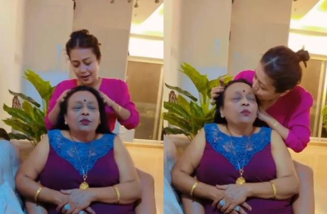 neha kakkar gives oil massage to her mother