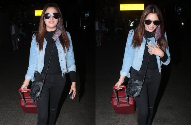 bigg boss fame mahira sharma sawag entry at mumbai airport