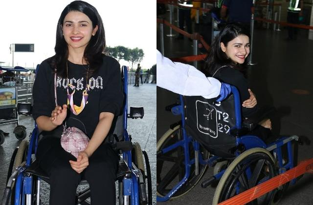 prachi desai spotted on wheelchair at mumbai airport