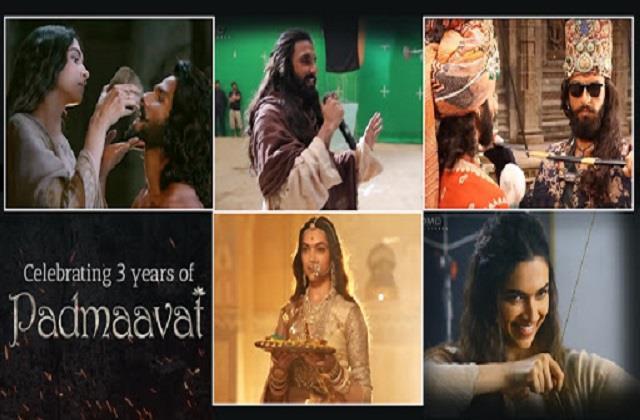 deepika padukone and ranveer singh film padmaavat completes 3 years