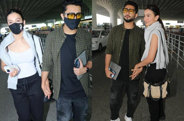 gauhar khan stylish appearance at airport with hubby zaid darbar