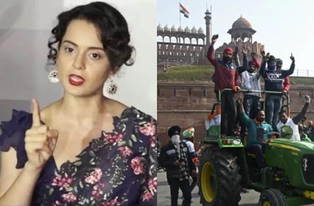 kangana ranaut tweet on farmers tractor march on republic day