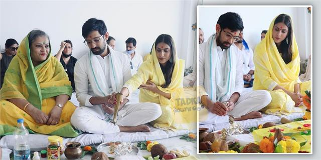 vikrant massey and his fiancee sheetal hosted griha pravesh puja