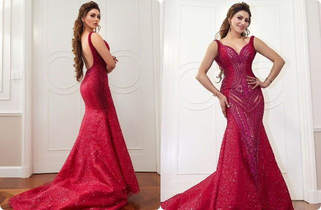 urvashi rautela looks gorgeous in maroon gown