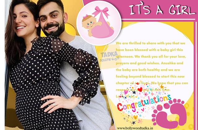 anushka sharma virat kohli blessed with baby girl