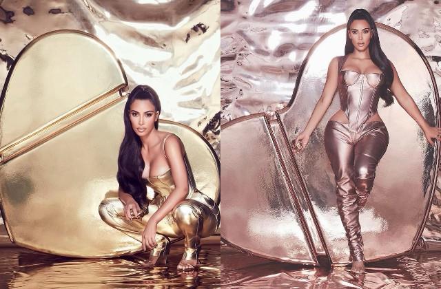 kim kardashian looked stylish in metallic outfit