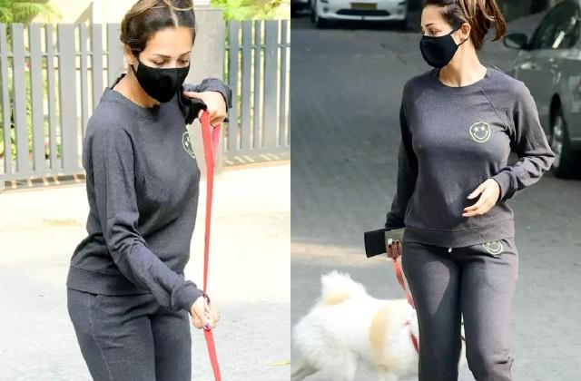 malaika arora spotted with her pet dog in bandra
