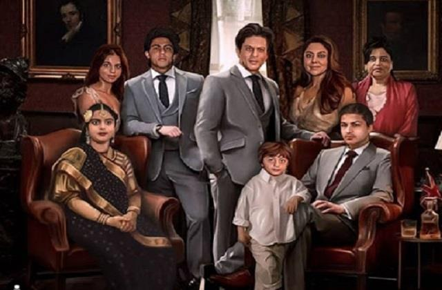 fan made shahrukh khan family painting