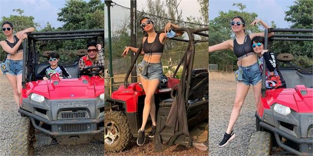 divya khosla kumar enjoying a vacation with the family in pune