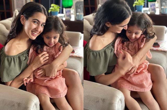 sara ali khan adorable display of affection for her cousin sister inaaya kemmu