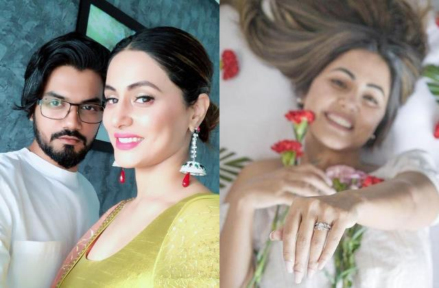 is hina khan engaged with rocky jaiswal actress flaunts ring in latest pictures
