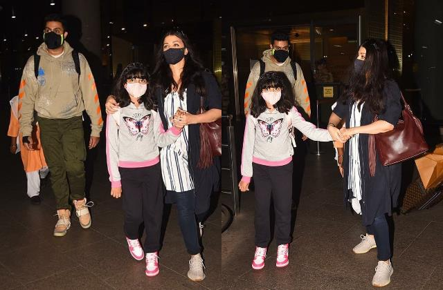 aishwarya rai bachchan abhishek bachchan aaradhya spotted at airport