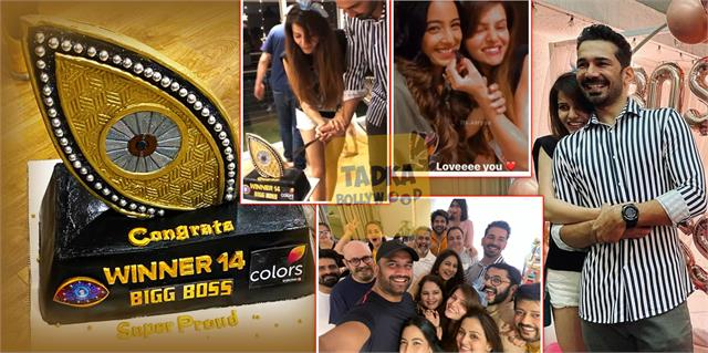 rubina dilaik celebrate her bigg boss 14 victory with husband and friends