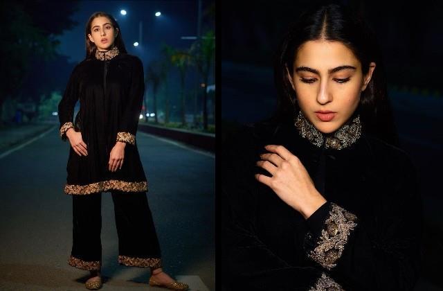 sara ali khan looks beautiful in black velvet kurta and pants
