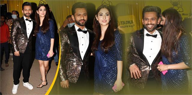 rahul vaidya poses with his girlfriend disha parmar after bigg boss 14 finale