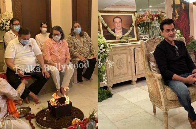 kapoor family holds a puja at late rajiv kapoor house