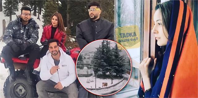 shehnaaz gill enjoy snowfall srinagar actress picture viral with badshah