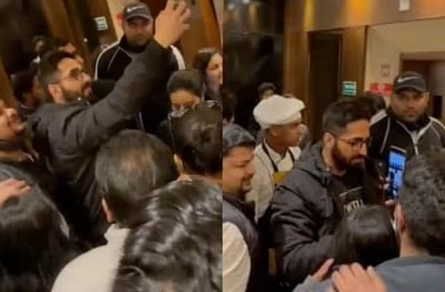 ayushmann khurrana young fans mobbed his hotel
