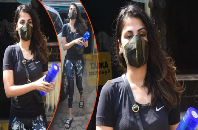 rhea chakraborty spotted outside gym photographers ask question