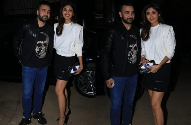 shilpa shetty spotted outside the restaurant with husband raj kundra