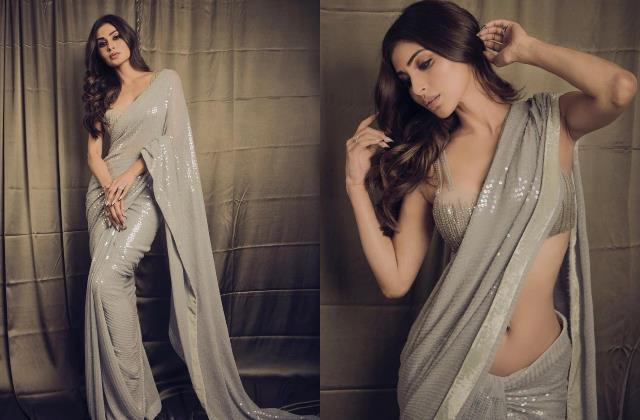 mouni roy looks gorgeous in silver sequine saree