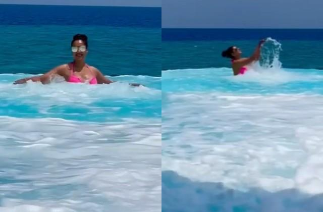 bipasha basu enjoying swimming pool in maldives videos viral