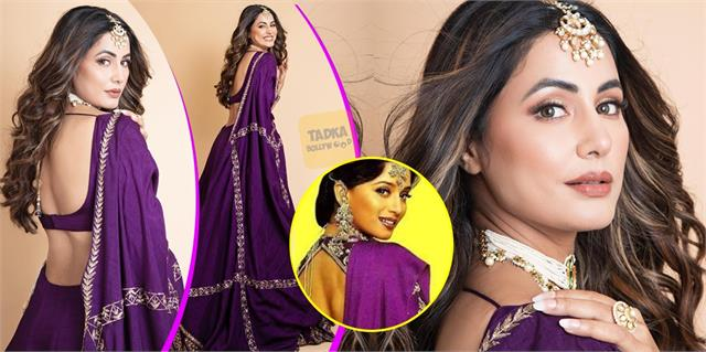 hina khan looks stunning in deep purple lehenga