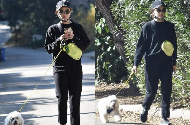 lucy hale spotted on los angeles streets with dog