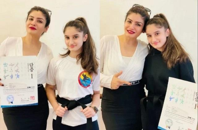 raveena tandons daughter rasha thadani gets black belt in taekwondo