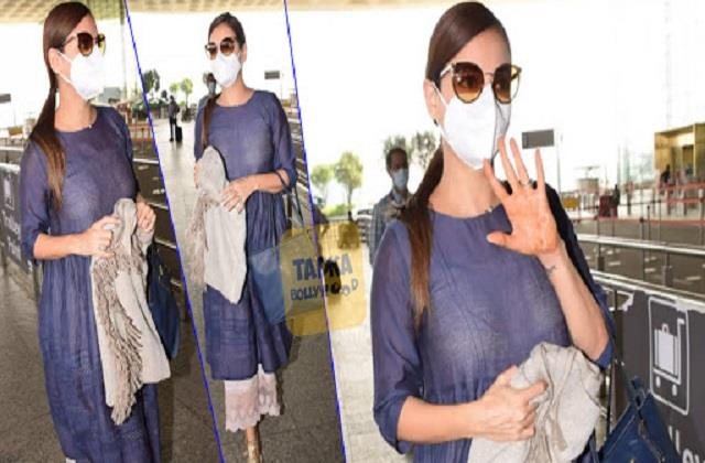 dia mirza spotted first time at airport after her wedding