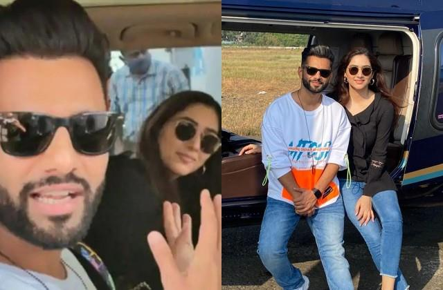rahul vaidya out for vacation with girlfriend disha parmar in private helicopter