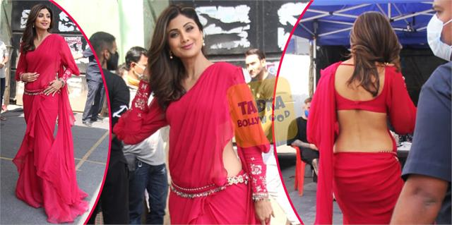 shilpa shetty looked gorgeous in indo western saree