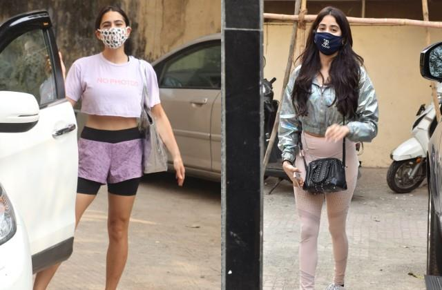 sara ali khan and janhvi kapoor spotted outside the gym