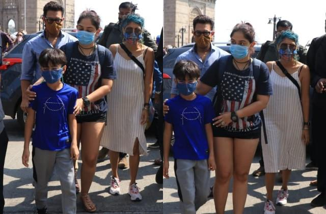 aamir khan spotted at the gateway of india with the family