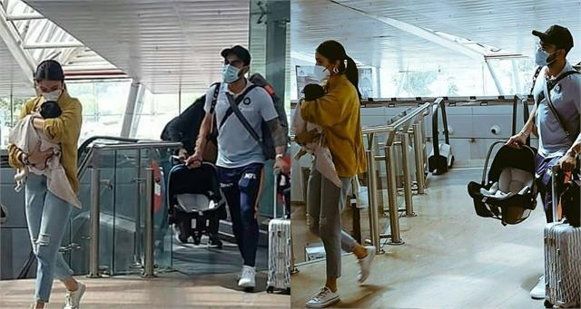 anushka sharma viat kohli first time spotted at airport with daughter vamika