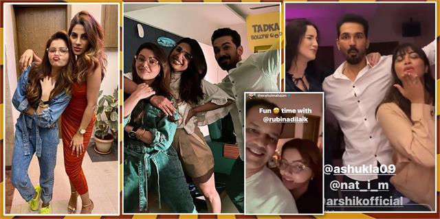 rubina nikki jaan and other contestants party at rahul mahajan house