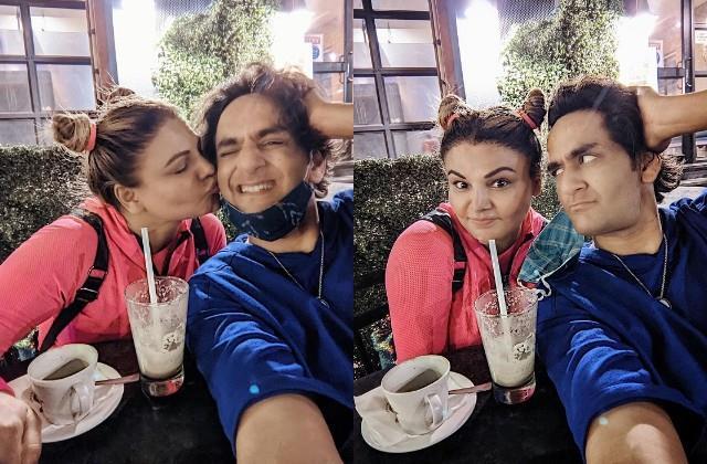 rakhi sawant meets vikas gupta at coffee shop