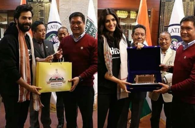 varun and kriti meets arunachal pradesh cm before the film bhediya shooting