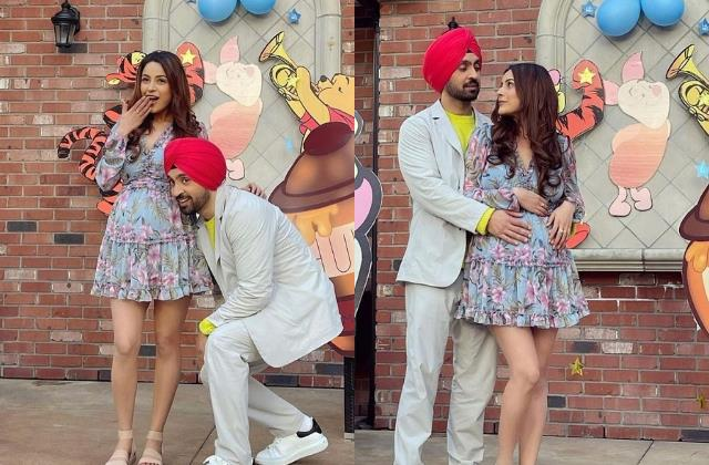 shehnaaz flaunt her baby bump in pictures with diljit from honsla rakh sets
