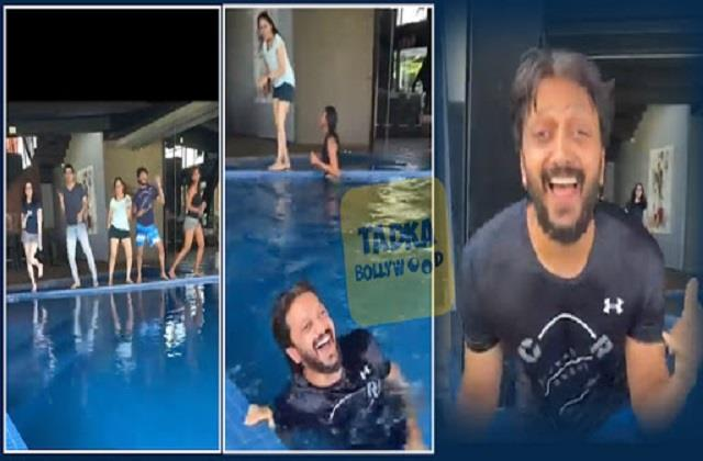 ritesh deshmukh dance with friends and wife genelia dsouza