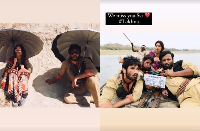 bhumi shares unseen photos with sushant singh on film sonchiriya anniversary