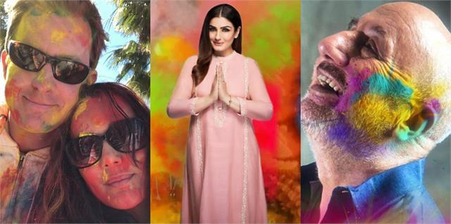 raveena tandon anupam kher to preity zinta wishes happy holi to fans