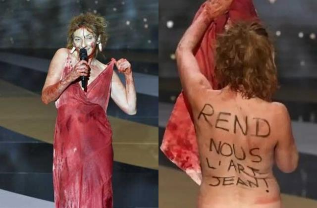 corinne masiero naked protest at french oscars ceremony against pm jean castex