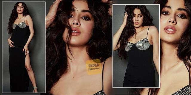janhvi kapoor looks gorgeous in spaghetti strap black dress