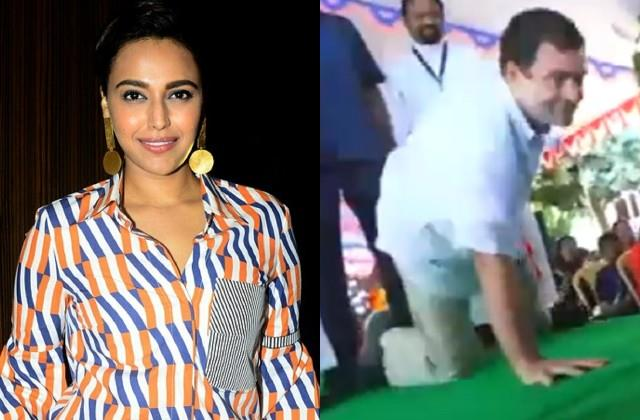 swara bhaskar comments on rahul gandhi push ups video