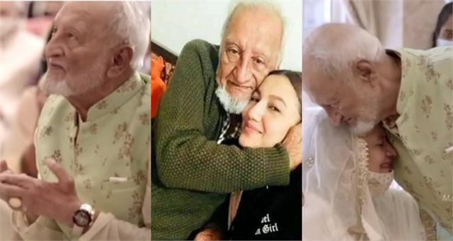 gauahar khan share video of her late father in which he prayer for her